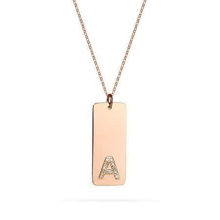 Diamond Initial Tag Pendant in Rose Gold