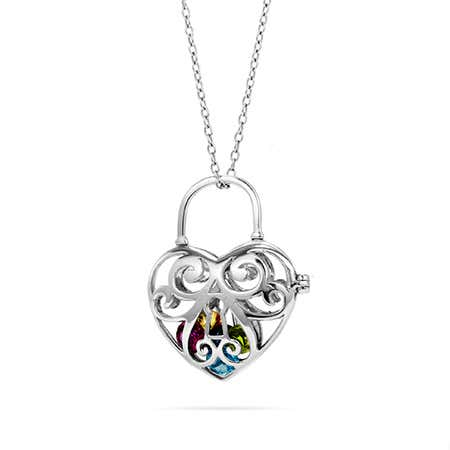 Caged Heart Birthstone Locket