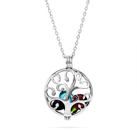 display slide 1 of 3 - Custom Family Tree Birthstone Locket - selected slide