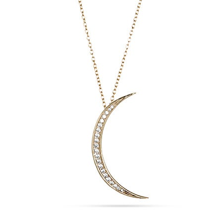 Gold Vermeil CZ Crescent Moon Necklace