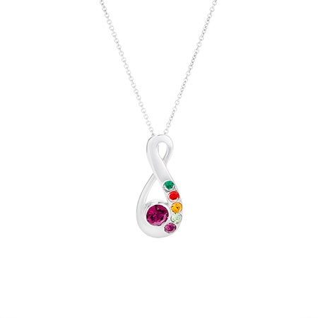 6 Birthstone Silver Infinity Mother's Necklace