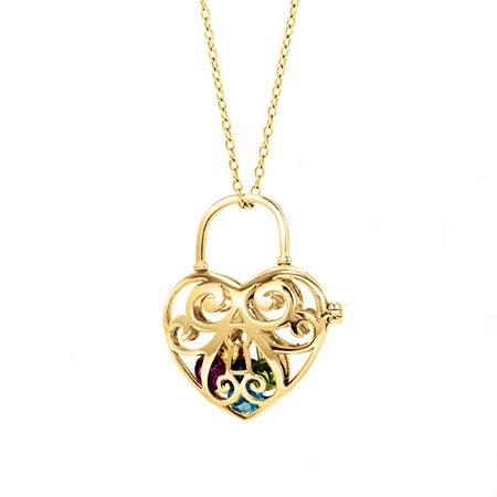 Birthstone Key To My Heart Gold Locket