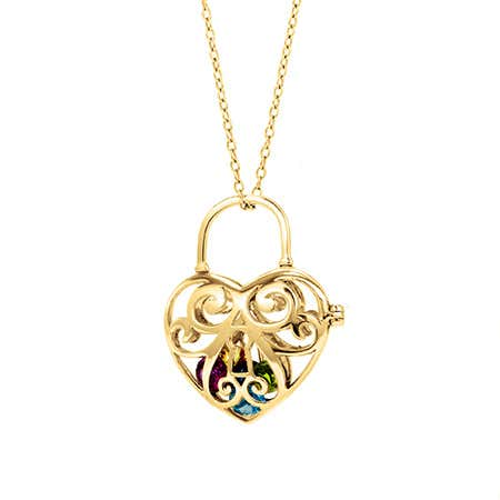 Birthstone Key To My Heart Gold Locket