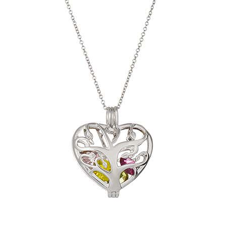 Custom Heart Family Tree Birthstone Silver Locket
