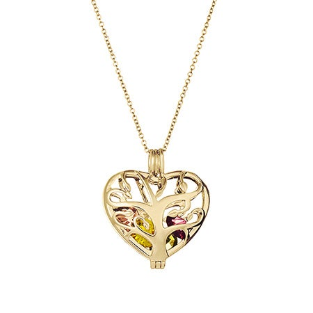 Custom Gold Heart Family Tree Birthstone Locket