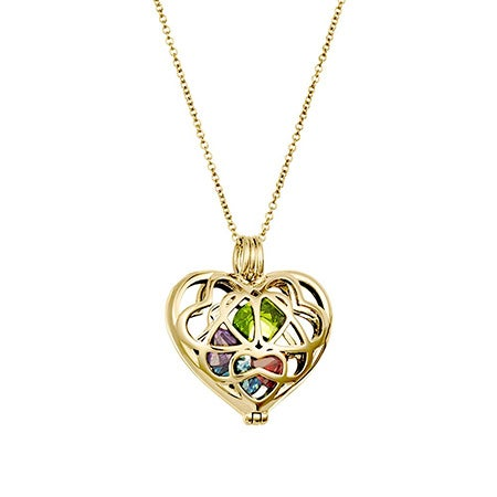 Custom Gold Interlocking Hearts Birthstone Charm Locket