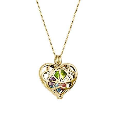 Custom Gold Interlocking Hearts Birthstone Charm Locket