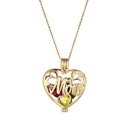 Mom Custom Birthstone Gold Heart Locket