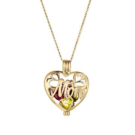 Mom Custom Birthstone Gold Heart Locket