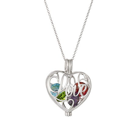 Custom Love Floating Birthstone Heart Locket
