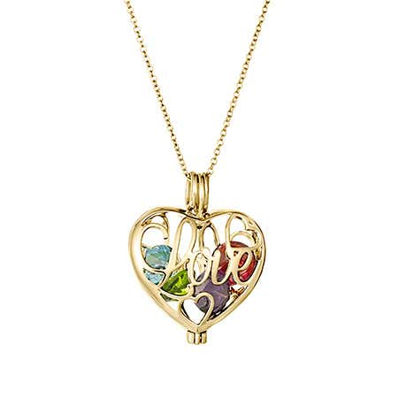 Gold Love Custom Birthstone Heart Locket