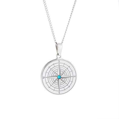 Engravable Compass Necklace with Custom Birthstone