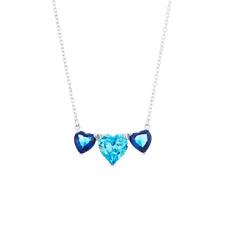 Custom 3 Stone Heart Birthstone Silver Necklace