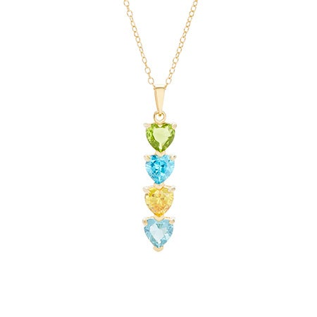 4 Stone Birthstone Gold Heart Drop Mother's Necklace