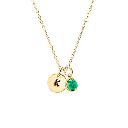 Hand Stamped Gold Mini Initial Custom Birthstone Necklace
