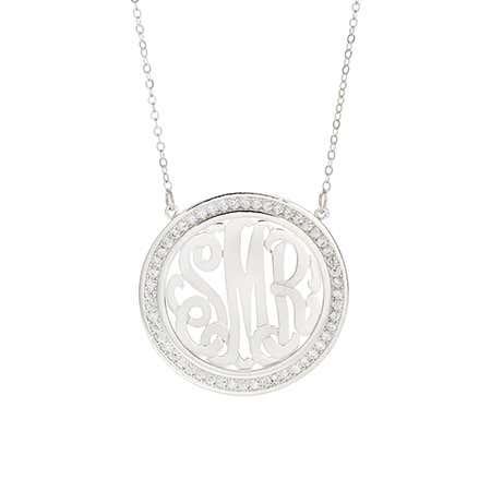 CZ Border Silver Monogram Necklace