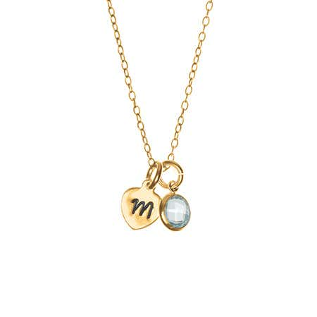 Gold Heart Hand Stamped Initial Birthstone Necklace