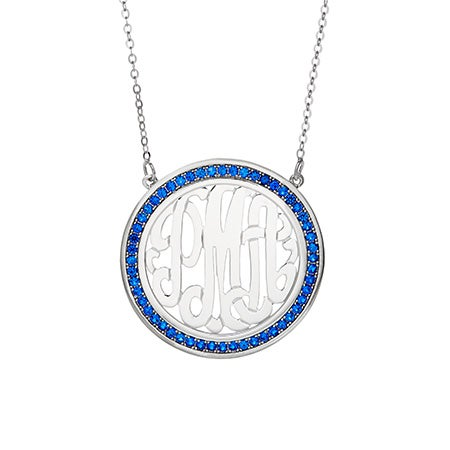 Custom Birthstone Sterling Silver Monogram Necklace