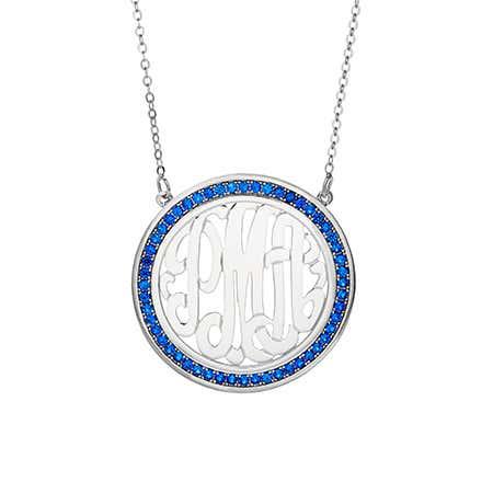 Custom Birthstone Sterling Silver Monogram Necklace