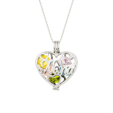 Custom Nana Birthstone Silver Heart Locket
