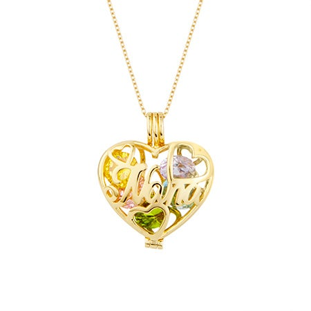 Custom Nana Birthstone Gold Heart Locket