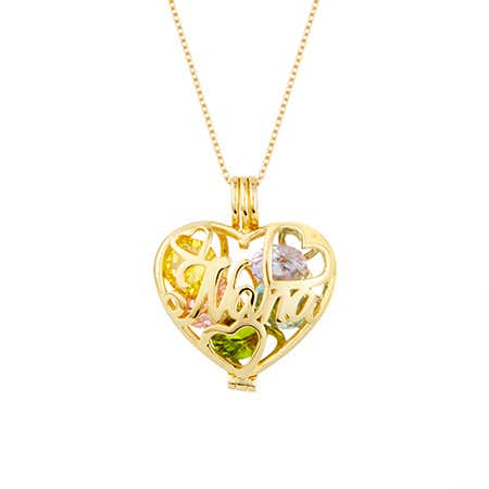 Custom Nana Birthstone Gold Heart Locket