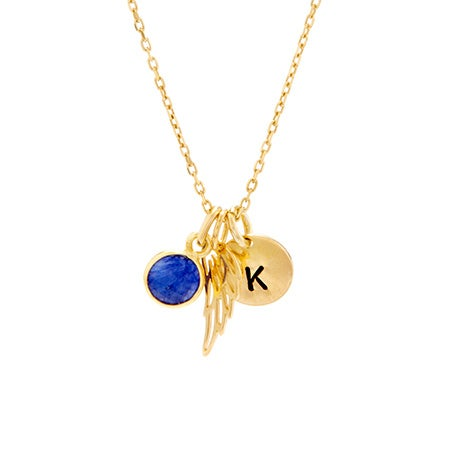 Custom Initial Birthstone Gold Angel Wing Necklace