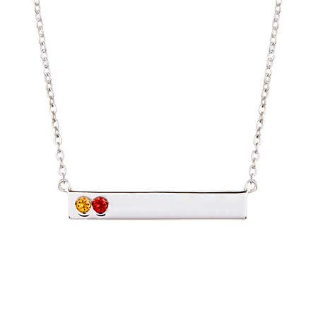 2 Birthstone Silver Name Bar Necklace