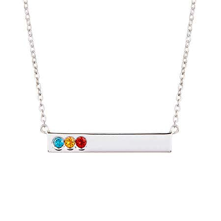 3 Stone Birthstone Silver Name Bar Necklace