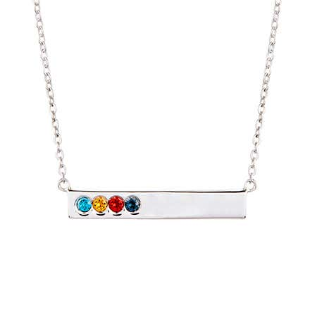 Custom 4 Birthstone Silver Name Bar Necklace