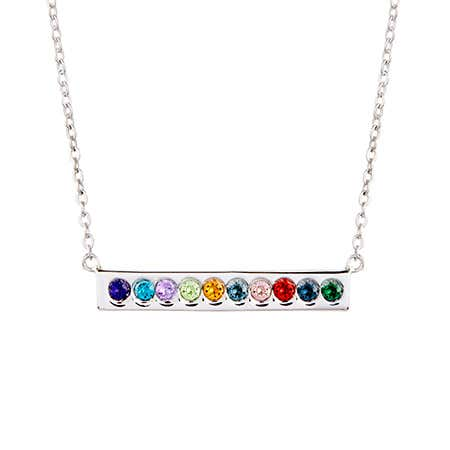 Custom 10 Birthstone Silver Name Bar Necklace