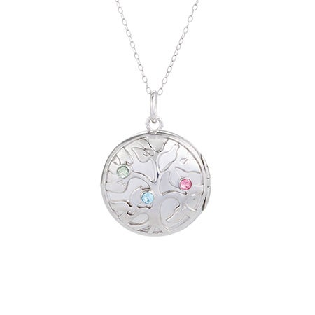 3 Birthstone Family Tree Silver Photo Locket