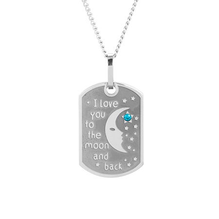 I Love You To The Moon and Back Birthstone Dog Tag