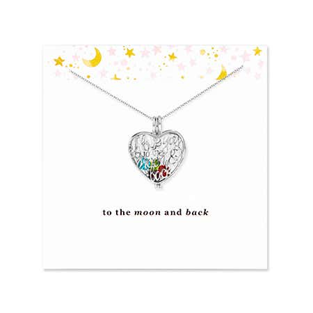 To The Moon and Back Silver Birthstone Locket Necklace