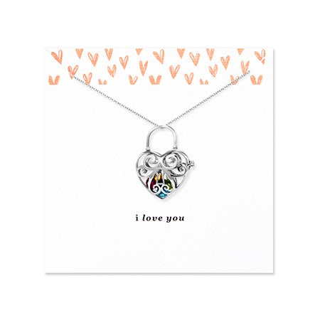 I Love You Floating Charm Heart Silver Birthstone Locket