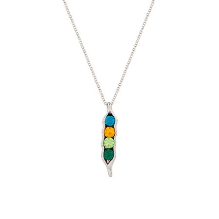 Four Birthstone Peas in a Pod Silver Necklace