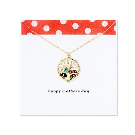 Mother's Day Family Tree Custom Birthstone Gold Locket