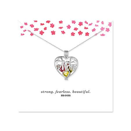 display slide 1 of 2 - Strong Fearless Beautiful Custom Mom Birthstone Heart Locket - selected slide