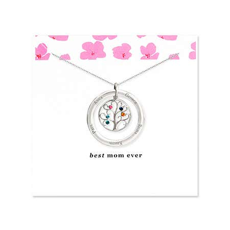 Best Mom 5 Birthstone Family Tree Necklace