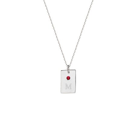 Birthstone and Initial Petite Silver Tag Pendant