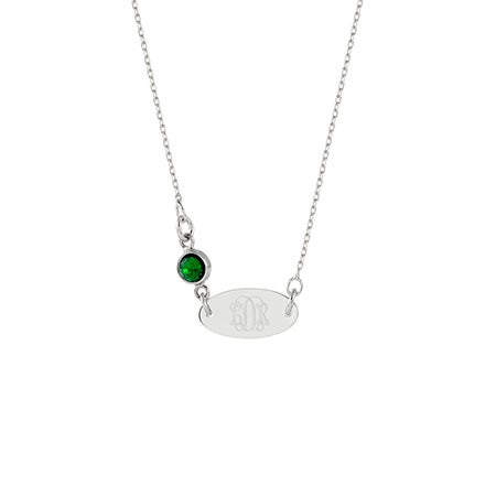 Monogram Birthstone Silver Oval Tag Necklace