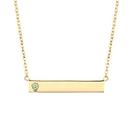 Custom Birthstone Gold Name Bar Necklace