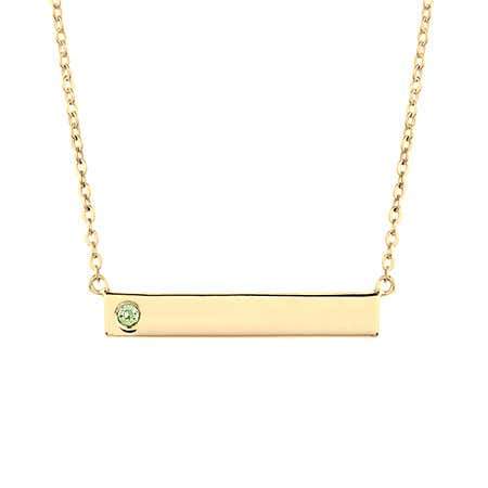 Custom Birthstone Gold Name Bar Necklace