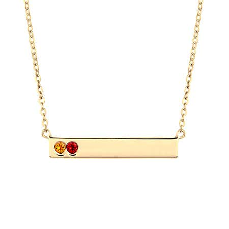 2 Birthstone Gold Name Bar Necklace