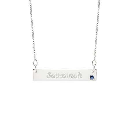 Genuine Birthstone Silver Name Bar Necklace