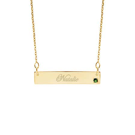 Genuine Birthstone Gold Name Bar Necklace