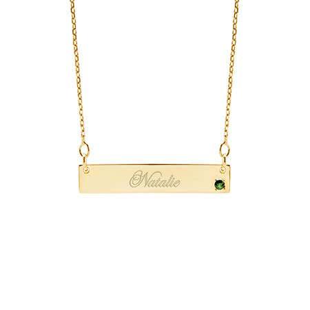 Genuine Birthstone Gold Name Bar Necklace