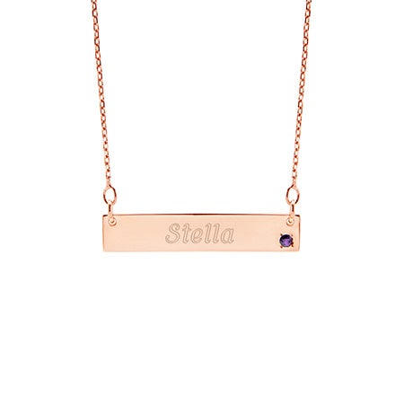 Custom Birthstone Rose Gold Name Bar Necklace