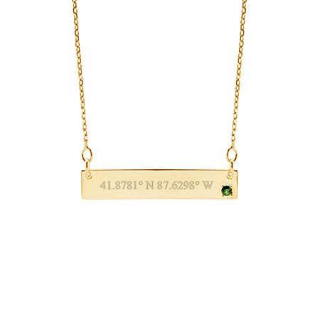 Custom Coordinate Genuine Birthstone Gold Bar Necklace