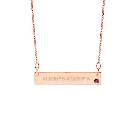 Custom Coordinate Birthstone Rose Gold Bar Necklace